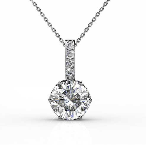 Necklace Pendant 18K white gold with Swarovski crystals