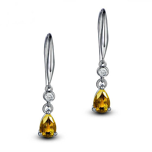 925 Sterling Silver plated earrings with CZ Amber/Gold Diamonds