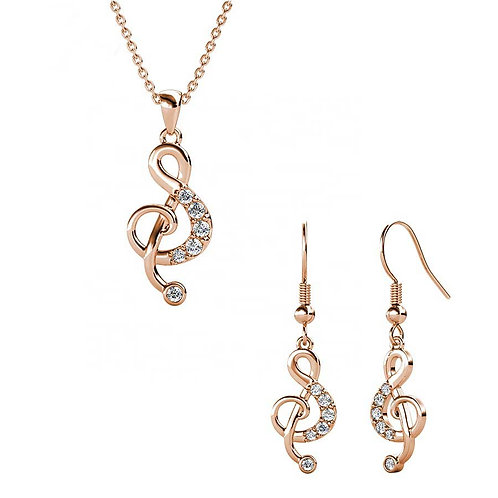 Rose Gold Plated necklace and matching earrings