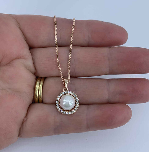 Rose Gold plated necklace with Pearl and Swarovski