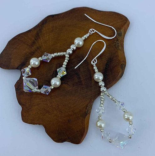 925 Sterling Silver bridal earrings with Swarovski crystals
