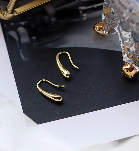 18K Gold earring over 925 Sterling Silver Teardrop earrings