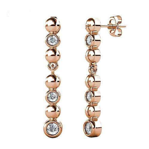 Rose Gold Dangle Earring with Swarovski crystals