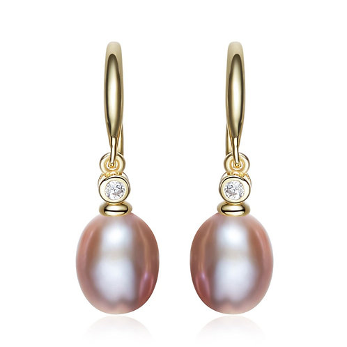 18K Gold plated Earring with freshwater pearl and Swarovski