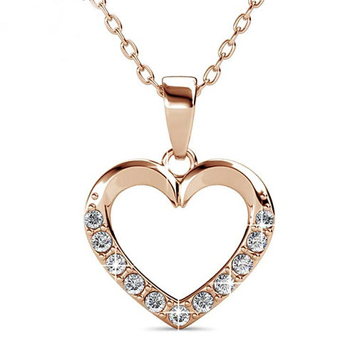 Rose Gold heart Necklace with Swarovski crystals