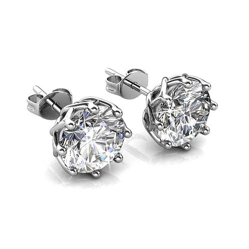 18K White Gold Stud Earrings with Swarovski Crystals