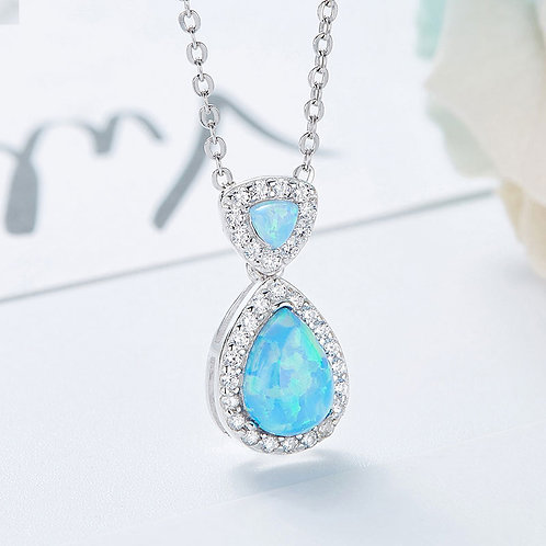 Opal necklace - Swarovski crystal and 925 Sterling Silver