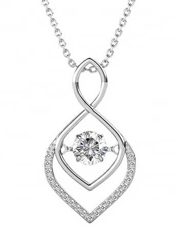 18K White Gold necklace pendant with Swarovski crystals on Silver chain
