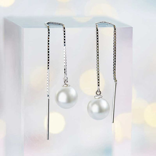 925 Sterling Silver Threader Earrings with freshwater pearl