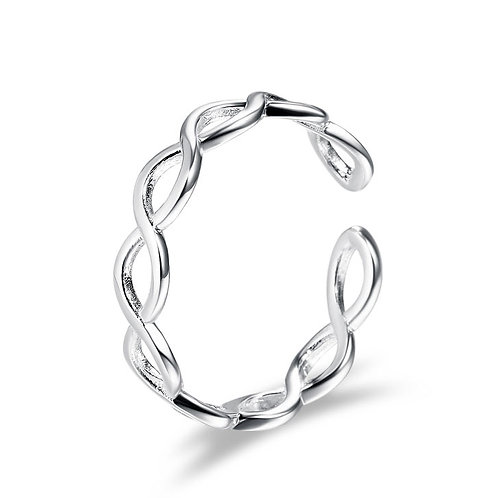 925 Sterling Silver plated twist ring - adjustable