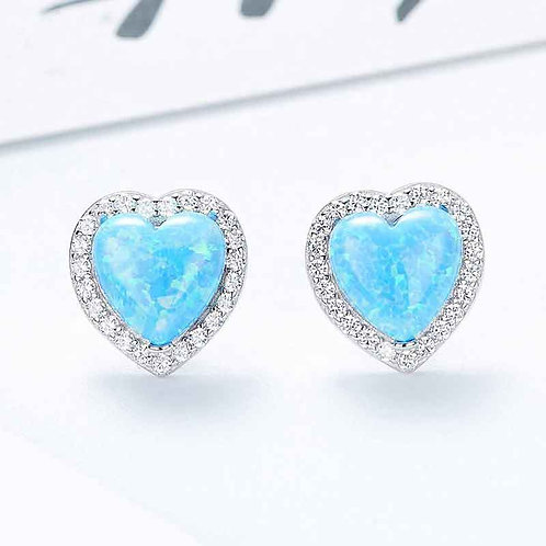 Opal heart stud earrings with Swarovski crystals on 925 Sterling Silver