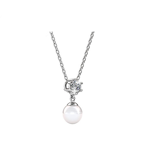 Necklace - 18K White Gold with Swarovski crystals and pearl