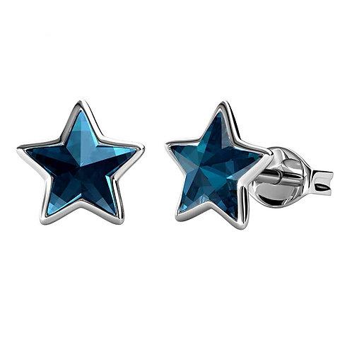 Blue Swarovski star stud earrings