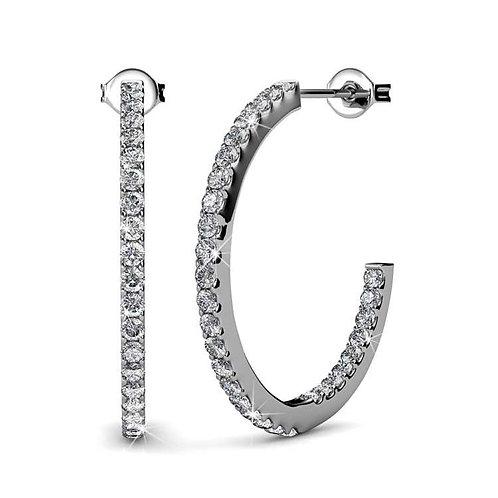 18K White Gold Hoop Earrings with Swarovski crystals