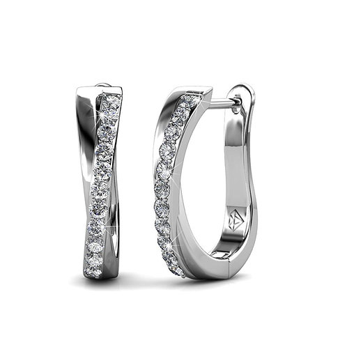 18K White Gold plated huggie earring with Swarovski