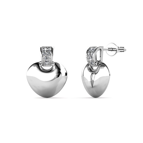 18K White Gold Earring hearts with Swarovski crystals