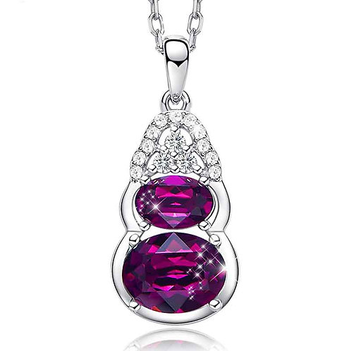 925 Sterling Silver  necklace with dark purple Swarovski crystals