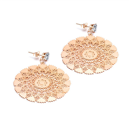 Rose-Gold Coloured Fashion Lace Disc Earrings