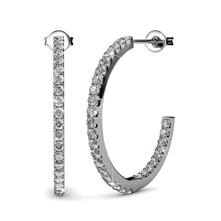 18k white gold with Swarovski crystal earrings hoop