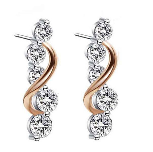 Rose and white gold Earrings with Swarovski