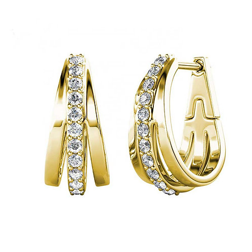 Gold plated huggie earrings with Swarovski crystals