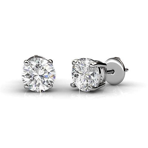 18K White Gold Stud Earrings - 6.3 mm Swarovski Crystals