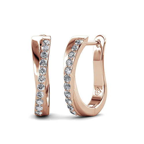 Rose-Gold plated Huggie Earrings with Swarovski crystals