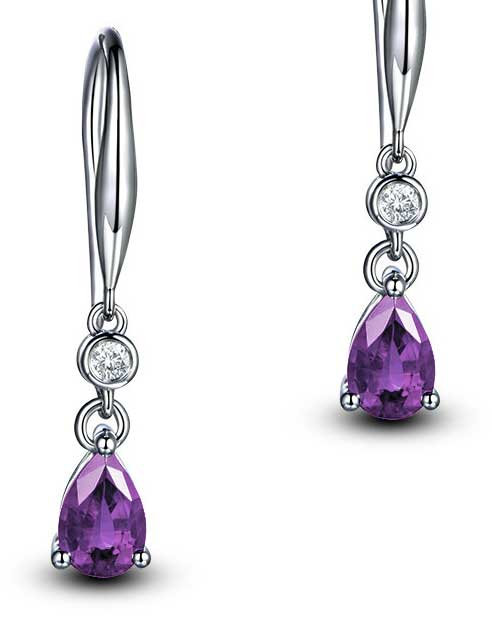 925 Sterling Silver plated earrings with CZ Purple Diamonds