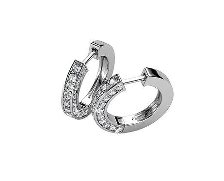 Silver Huggie Hoop Earrings with Swarovski crystals