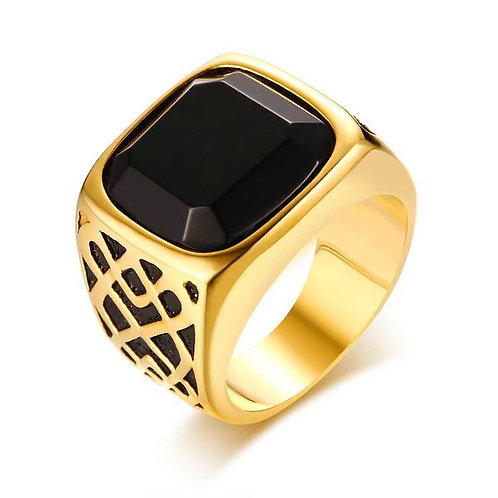 18K Gold plated Men's Ring with Black Onyx stone