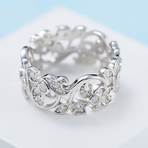 925 Sterling Silver plated filigree ring - Size 9