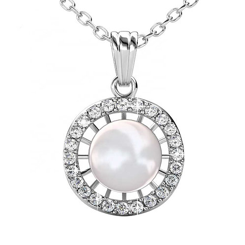 18K White Gold plated necklace with Pearl and Swarovski