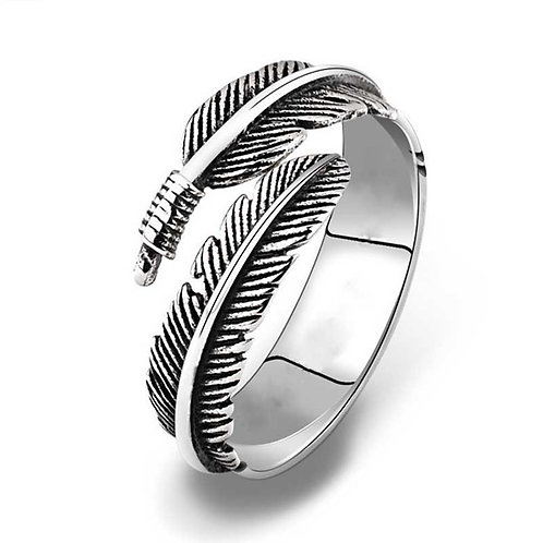 Silver feather ring - adjustable