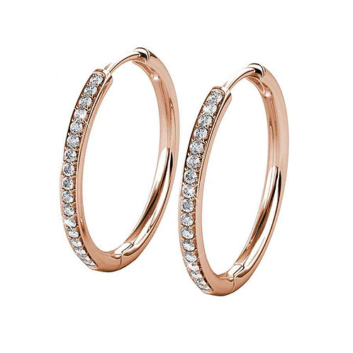 Rose Gold Plated Hoop Earrings with Swarovski crystals