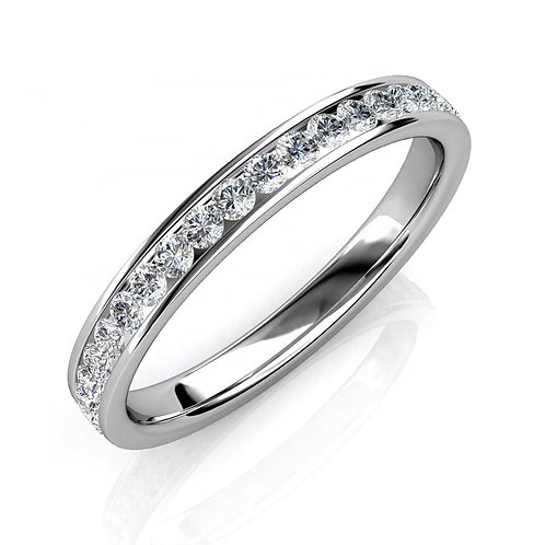 Size 8 - 18K White Gold plated eternity style ring