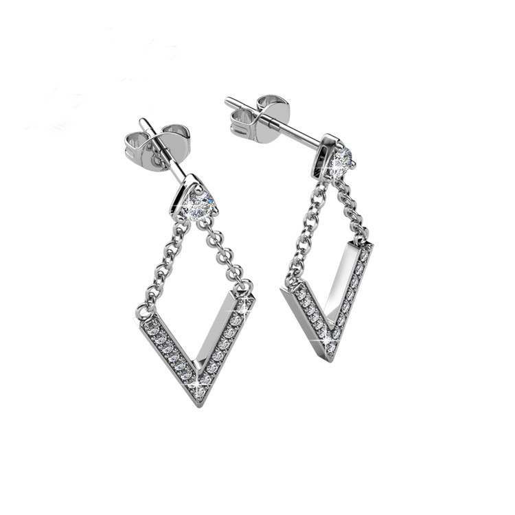 Earrings in 18K white gold and swarovski crystals