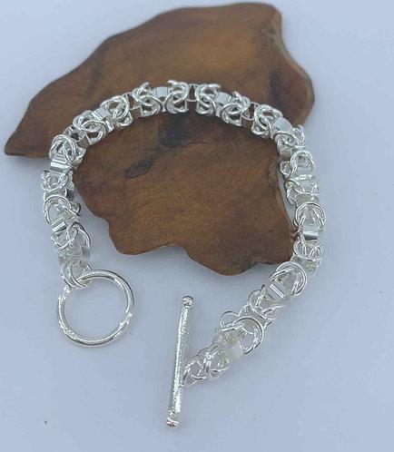 925 Sterling Silver plated bracelet - byzantine style - 20 cm