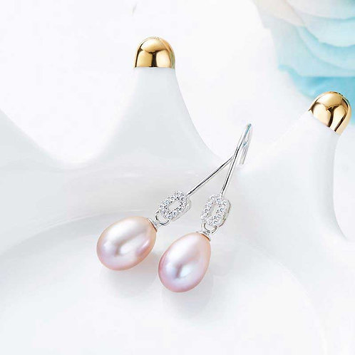 925 Sterling Silver earrings with freshwater pearls -grape