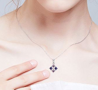 925 Sterling Silver Necklace Pendant with Swarovski crystals