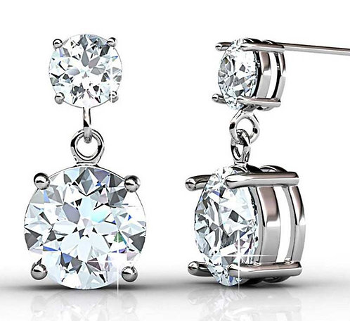18K White Gold dangle earrings with Swarovski crystals