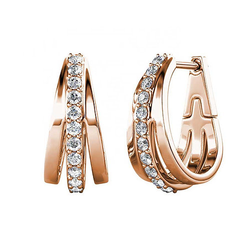 Rose Gold plated huggie earrings with Swarovski crystals