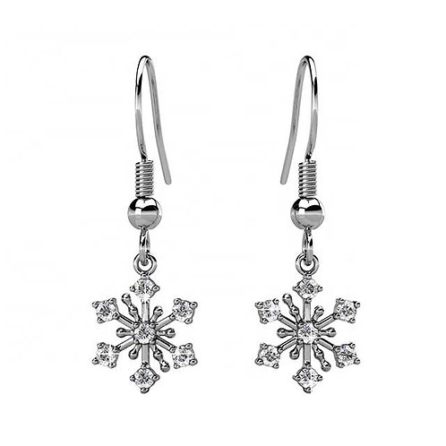 White Gold plated huggie earrings with Swarovski crystals
