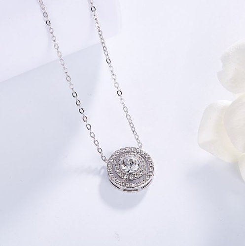 Silver Necklace with Swarovski Crystal
