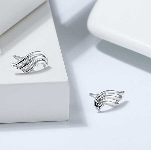 925 Sterling Silver wave studs