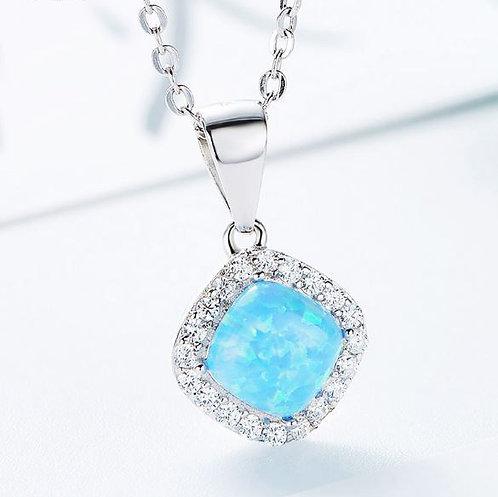 blue opal swarovski necklace silver