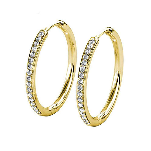Yellow Gold Plated Hoop Earrings with Swarovski crystals