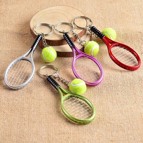 10pcs Mini Tennis Tennis Racket Key Buckle Tennis Ball