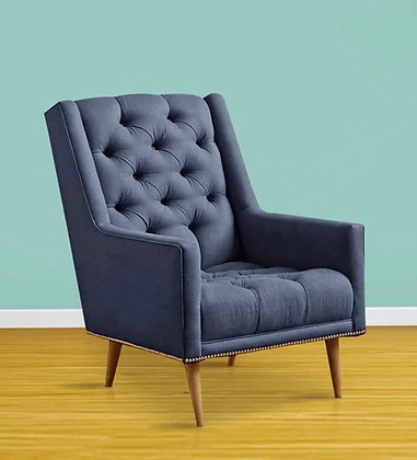 Classy Wing Chair in Blue Color