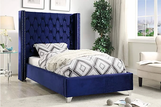 Coho Wing Fabric Bed in Blue Color