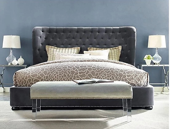 Italino Wing Fabric Bed in Grey Color